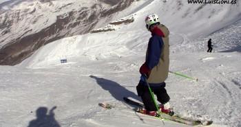 Luis Goñi llegando al snowpark Cerler